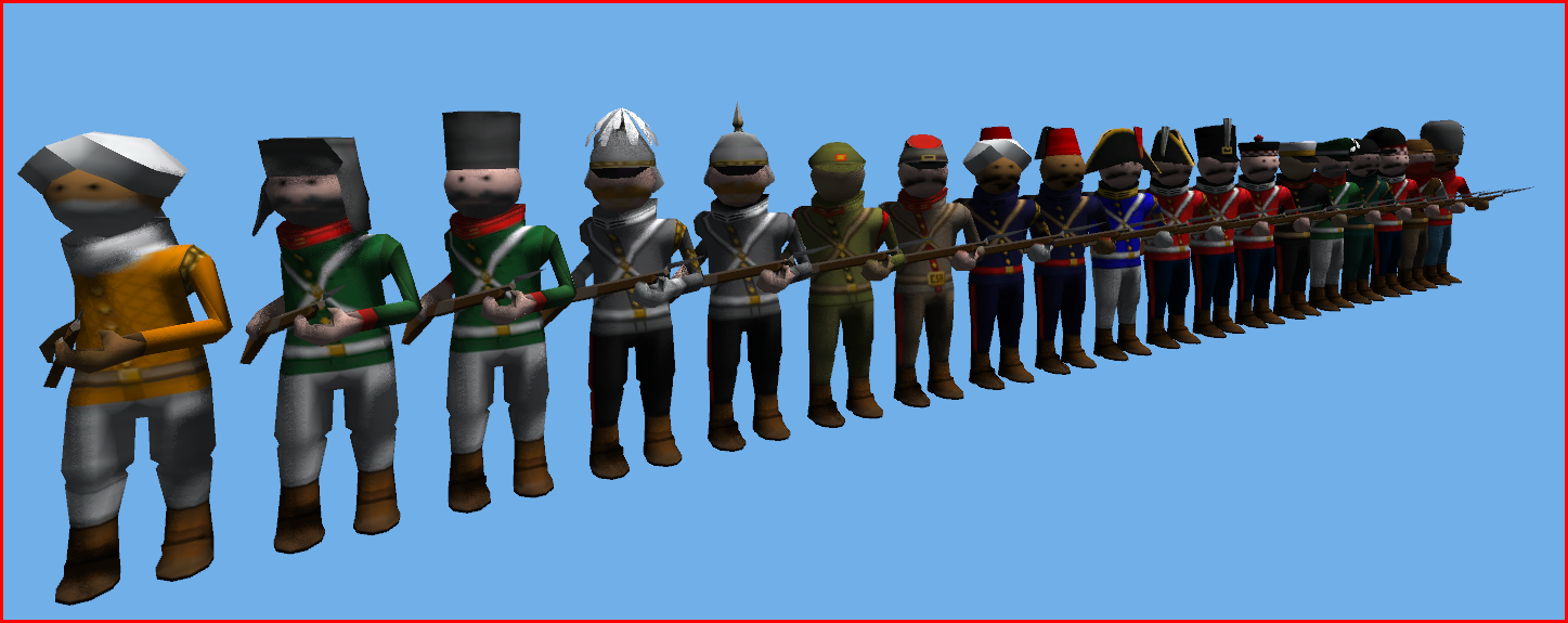 generic soldier figure changed AGAIN  polycount changed  vertex colour replaced with textures  UV sets line up so any texture fits any soldier/any hat  animations re-exported - re-mapped joints to new animation system  iteration numbererrrr...lost count  (now i need a few with kilts)